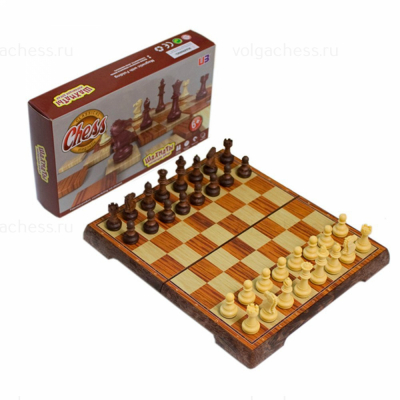 шахматы Магнитные пластмассовые «под дерево» Большие